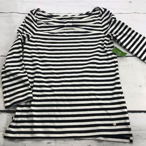 NWT Kate Spade Wheaton 3/4 Sleeve Striped Bow Top